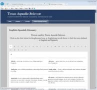 English to Spanish Aquatic Science Glossary in Texas Aquatic Science